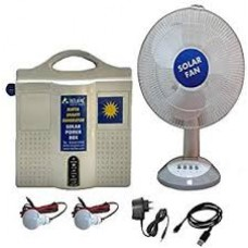 SOLAR DC HOME LIGHTING SYSTEM 2 LIGHTS 5W LED WITH 12V 7AH BATTERY & 15W TABLE FAN
